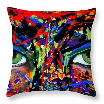 Throw Pillow featuring the painting Masque by Michael Cross