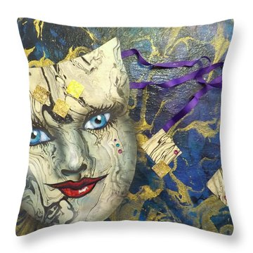 Masquerade Blues Throw Pillow
