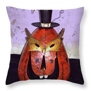 Masquerade Mask Pumpkin - Halloween Art Throw Pillow by Ella Kaye Dickey