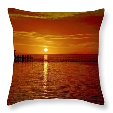 Mass Migration Of Birds With Colorful Clouds At Sunrise On Santa Rosa Sound Throw Pillow by Jeff at JSJ Photography