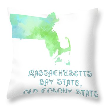 Massachusetts - Bay State - Old Colony State - Map - State Phrase - Geology Throw Pillow by Andee Design