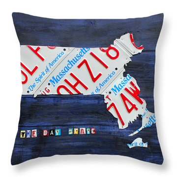 Massachusetts License Plate Map Throw Pillow by Design Turnpike