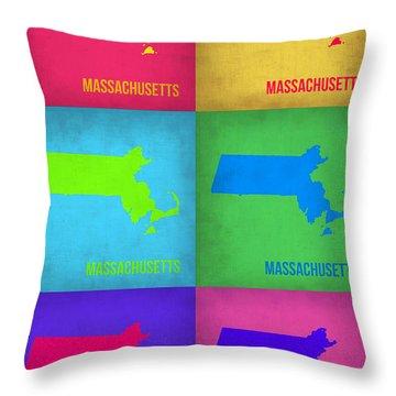 Massachusetts Pop Art Map 1 Throw Pillow by Naxart Studio