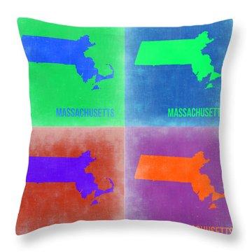 Massachusetts Pop Art Map 2 Throw Pillow by Naxart Studio