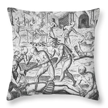 Massacre Of Christian Missionaries Throw Pillow by Theodore De Bry