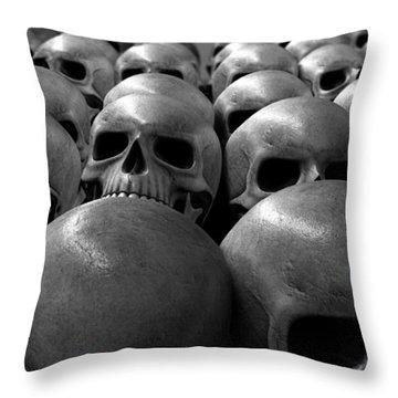 Massacre Of Skulls Throw Pillow by Allan Swart
