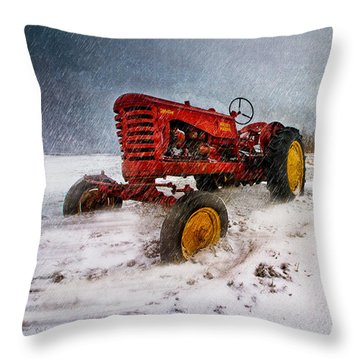 Massey Harris Mustang Throw Pillow by Bob Orsillo