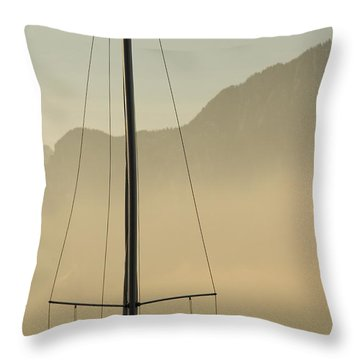 Mast And Mountains Throw Pillow