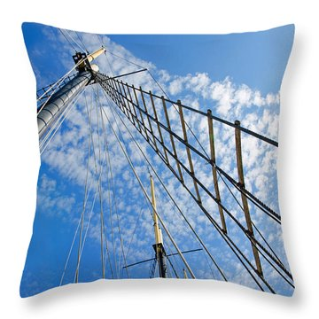 Masted Sky Throw Pillow by Keith Armstrong