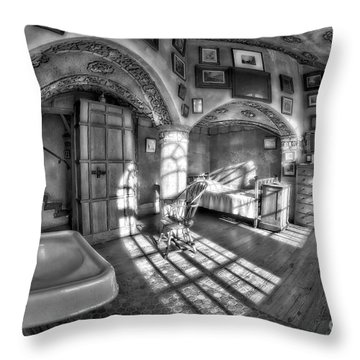 Master Bedroom At Fonthill Castlebw Throw Pillow by Susan Candelario