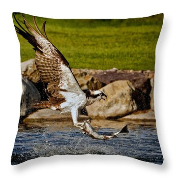 Master Fisherman Throw Pillow by Jack Bell