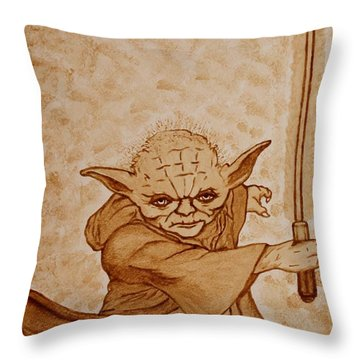 Throw Pillow featuring the painting Master Yoda Jedi Fight Beer Painting by Georgeta  Blanaru
