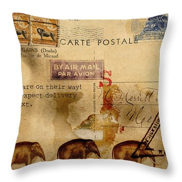 Mastodons Are On Their Way Throw Pillow by Carol Leigh