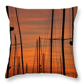 Masts At Sunset Throw Pillow