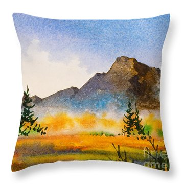 Throw Pillow featuring the painting Matanuska Autumn by Teresa Ascone
