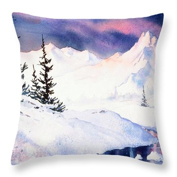 Throw Pillow featuring the painting Matanuska Sunset Impression by Teresa Ascone