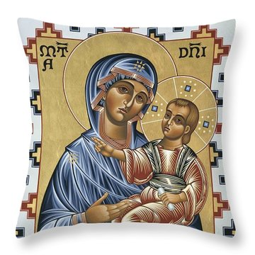 Throw Pillow featuring the painting Mater Domini 070 by William Hart McNichols