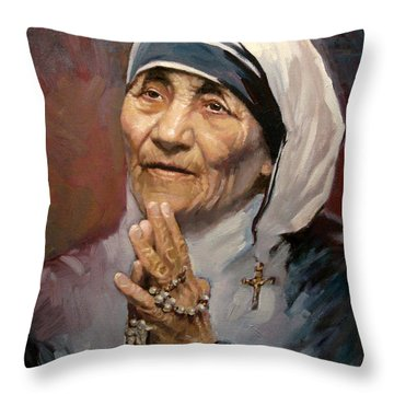 Mather Teresa Throw Pillow by Ylli Haruni