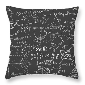 Maths Blackboard Throw Pillow by Gina Dsgn