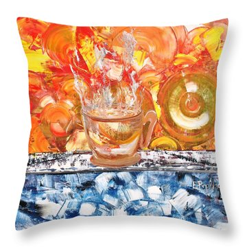 Throw Pillow featuring the painting Matinal by Evelina Popilian