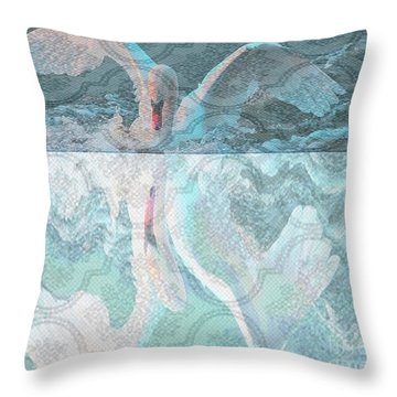 Mating Dance Of The Swan Throw Pillow by PainterArtist FIN