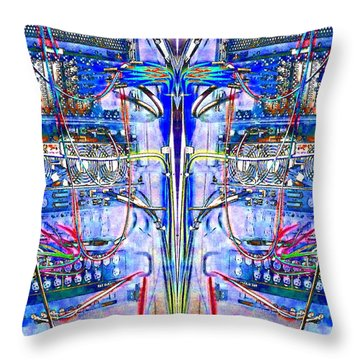 Throw Pillow featuring the photograph Matrix Blues by Marianne Dow
