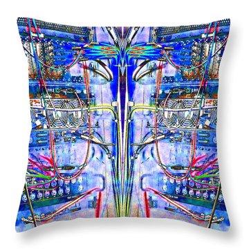 Matrix Blues Throw Pillow