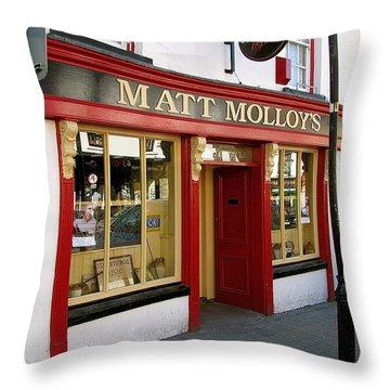 Matt Malloys Pub Westport Ireland Throw Pillow by Melinda Saminski