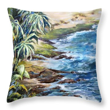Throw Pillow featuring the painting Maui Blue by Rae Andrews