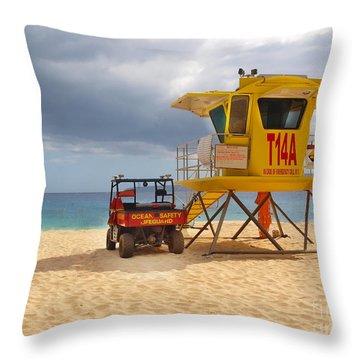 Maui Lifeguard Tower Throw Pillow