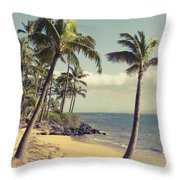 Throw Pillow featuring the photograph Maui Lu Beach Hawaii by Sharon Mau
