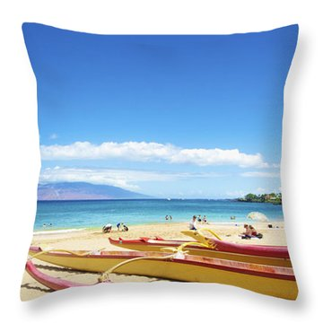 Maui Outriggers Throw Pillow by Kicka Witte