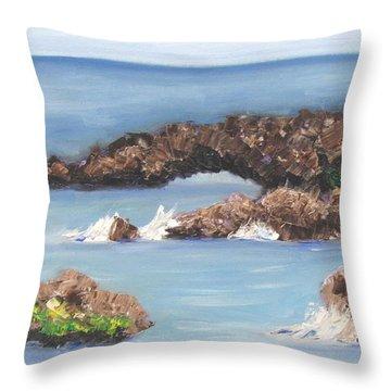 Maui Rock Bridge Throw Pillow
