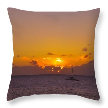 Maui Sailboat Sunset Throw Pillow