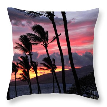 Throw Pillow featuring the photograph Maui Sunset by Peggy Hughes