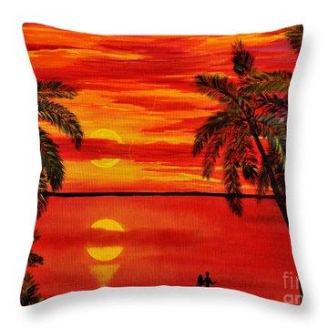 Maui Sunset Throw Pillow by Teresa Wegrzyn