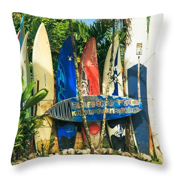Maui Surfboard Fence - Peahi Hawaii Throw Pillow