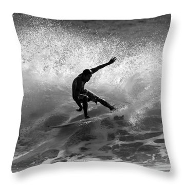 Maui Surfer In Black And White Throw Pillow
