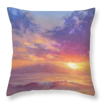 Coastal Hawaiian Beach Sunset Landscape And Ocean Seascape Throw Pillow