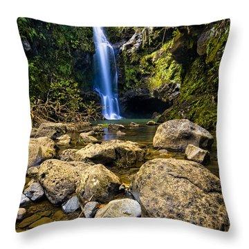 Maui Waterfall Throw Pillow by Adam Romanowicz