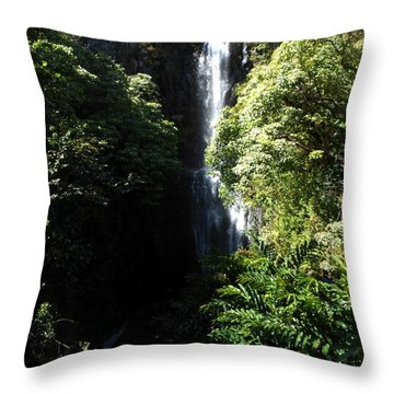 Throw Pillow featuring the photograph Maui Waterfall by Fred Wilson