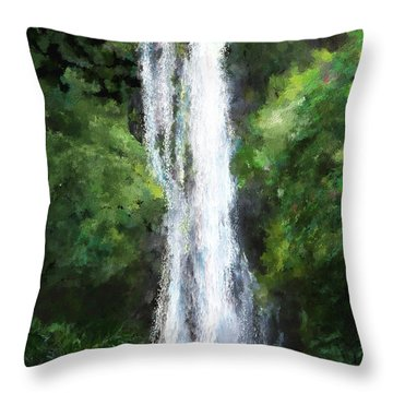 Maui Waterfall Throw Pillow by Susan Kinney