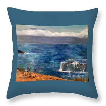 Throw Pillow featuring the painting Frida Goes To Maui by Vanessa Palomino