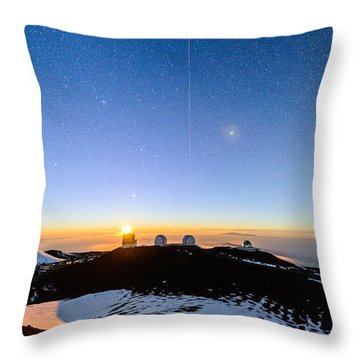 Mauna Kea Moonset 1 Throw Pillow