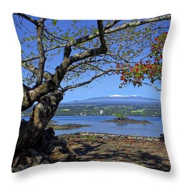 Mauna Kea Volcano Over Hilo Bay Hawaii Throw Pillow by Daniel Hagerman