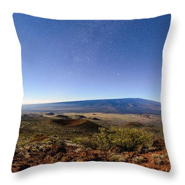 Mauna Loa Moonlight Panorama Throw Pillow