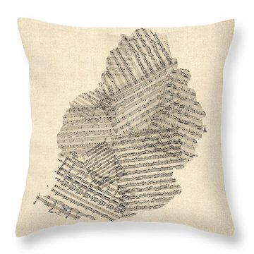 Mauritius Old Sheet Music Map Throw Pillow