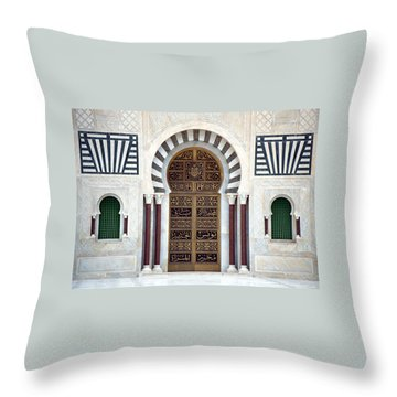 Throw Pillow featuring the photograph Mausoleum Doors by Donna Corless