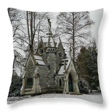 Throw Pillow featuring the photograph Mausoleum In Winter by Kathy Barney