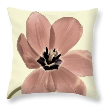 Mauve Tulip Transparency Throw Pillow